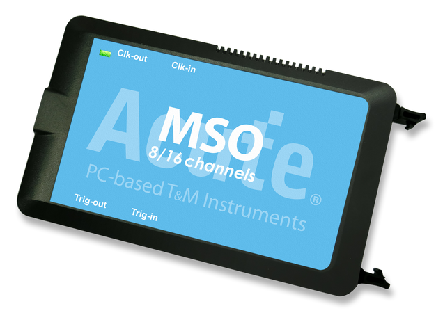 Acute MSO Series 3-in-1 Analyzer, MSO2008W. 5 models, PC-based, USB3.0 interface. 8 / 16 Channels (display digital and analog waveforms of the same channel). Digital Inputs : 2 GHz Timing, 200 MHz State Analysis (Max). Analog Inputs : 200 MS/s (Max), Bandwidth 40 MHz. 8 Gb Memory (Max). PC RAM storage for streaming mode.