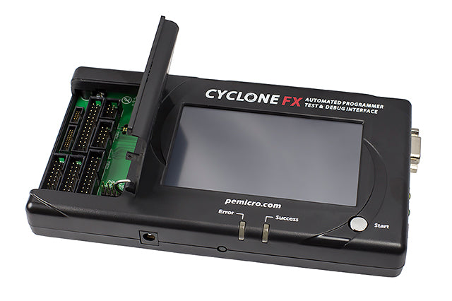 PE Micro Cyclone Univers FX, CYCLONE UNI FX. Cyclone FX stand-alone programmer supports a wide range of ARM Cortex and NXP processor families.