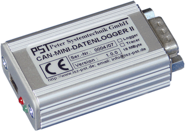 PST CAN MINI Data Logger II, CAN-MDL II. The CAN MINI Data Logger II is an autonomous, extremely rugged, freely configurable data logger and data tracer for offline logging and online visualization of data traffic in CAN systems up to 1MBaud.