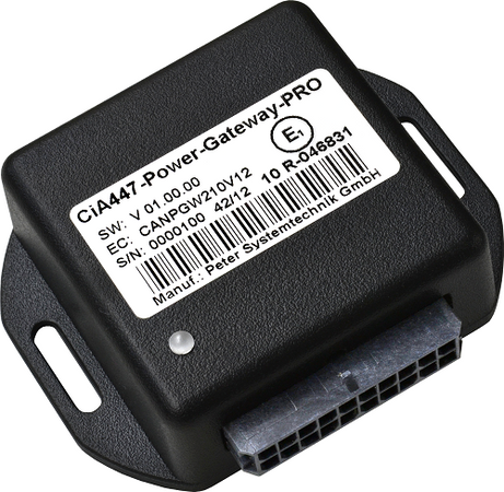 PST CiA447 Power Gateway PRO, CiA447-PWG-Pro. The CiA447 Power Gateway (PRO) is a control unit for connecting a manufacturer-independent CiA447 interface in special vehicles with conventionally controlled devices and signal generators.