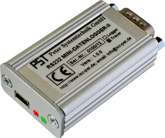 PST RS232 MINI DATEN LOGGER II, RS232-MDL II. The RS232 MINI DATA LOGGER II is a universal high-performance development and testing tool for online logging and visualization of asynchronous serial data streams (RS232) via a USB interface. It is supplied with PST-Visualyser (RS232) PC software for rapid, convenient data display and evaluation.