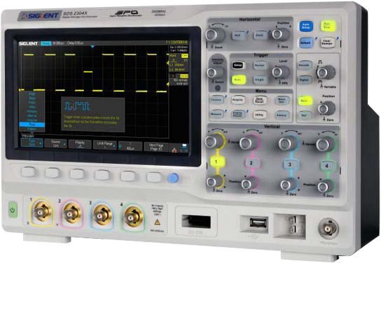 Siglent SDS2204X, SDS2204X. Siglent's SDS2204X is a 200 MHz, 2 GSa/s Super Phosphor Oscilloscope (SPO). A maximum record length of 140 Mpts. Intuitive and user-friendly one-button interface.