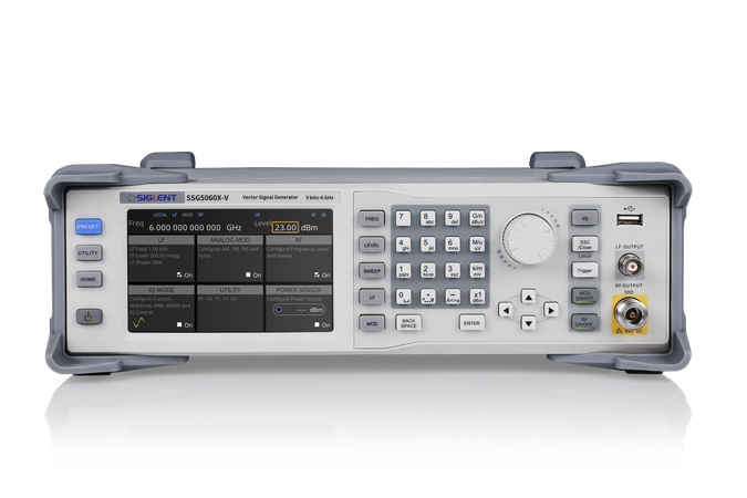 Siglent SSG5000X Series, SSG5040X. SIGLENT's SSG5000X series of signal generators can generate analog and vector signals, and have a frequency range of 9 kHz to 4 GHz/6 GHz. They feature the industry-leading performance in phase noise, spectral purity, bandwidth, EVM, output power. The internal IQ modulation generator and waveform playback function make it easy to create even the most complex signal types.