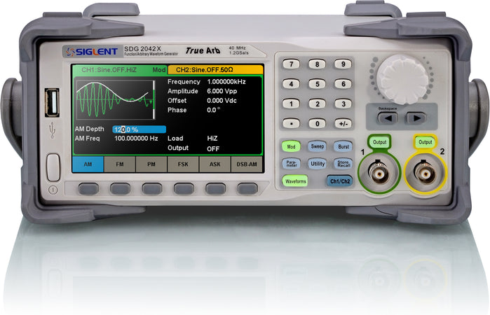 Siglent SDG2000X Series, SDG2042X. SDG SDG2000X series is dual-channel function/arbitrary waveform generator with a bandwidth of up to 120MHz, 1.2GSa/s sampling rate and 16-bit vertical resolution. The proprietary TrueArb & EasyPulse technologies help to solve the weaknesses inherent in traditional DDS generators when generating arbitrary, square and pulse waveforms.