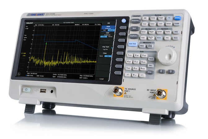 Siglent SVA1000X Series, SVA1015X. The Siglent SVA1000X series spectrum & vector network analyzers are powerful and flexible tools for RF signal and network analysis. With a frequency range to 7.5 GHz, the analyzer delivers reliable automatic measurements and multiple modes of operation: the base model are a spectrum analyzer and a vector network analyzer, optional functions include a distance-to-fault locator, a vector signal modulation analyzer.