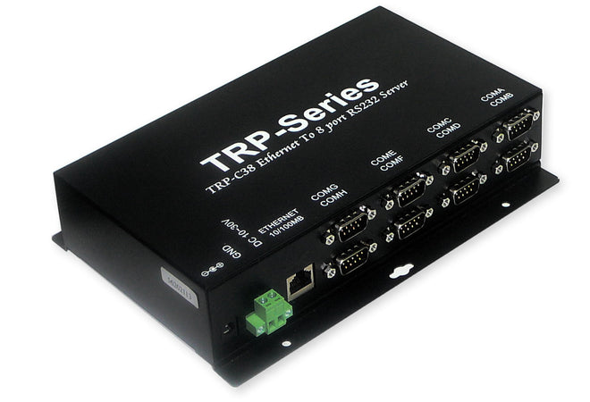 Trycom TRP-C38, TRP-C38. A fast 8-port serial to Ethernet device, designed to instantly convert data from RS-232 interfaces to a 10/100Mbps Ethernet network running at the TCP/IP protocol.