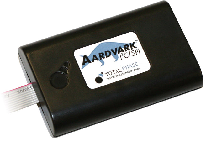 Total Phase Aardvark, TP240141. The Aardvark I2C/SPI Host Adapter is a fast and powerful I2C bus and SPI bus host adapter through USB. It allows a developer to interface a Windows, Linux, or Mac OS X PC via USB to a downstream embedded system environment and transfer serial messages using the I2C and SPI protocols.