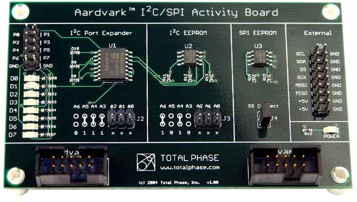 Total Phase I2C/SPI Activity Board, TP240310. This board is a great sanity check for the expert developer. Debugging a system against working slave devices can help differentiate between hardware and software bugs. The activity board is also useful to establish a baseline for software usage.