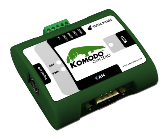 Total Phase Komodo CAN Solo, TP360510. The Komodo CAN Solo Interface is a powerful USB-to-CAN adapter and analyzer. The Komodo interface is an all-in-one tool capable of active CAN data transmission as well as non-intrusive CAN bus monitoring. The portable and durable Komodo interface easily integrates into end-user systems. It provides a flexible and scalable solution for a variety of applications including automotive, military, industrial, medical, and more.