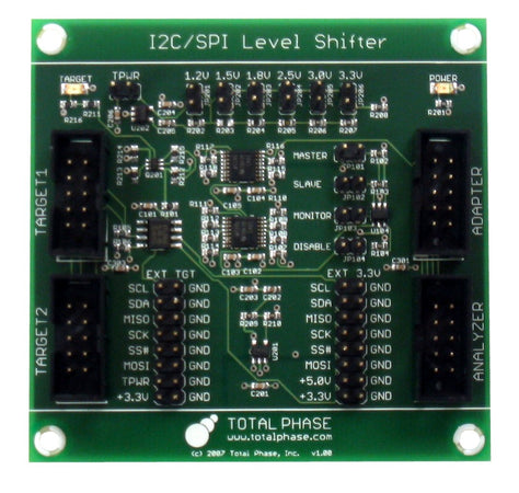 Total Phase Level Shifter Board, TP240610. The Level Shifter Board provides voltage level translation from 1.2V to 3.3V for the Aardvark I2C/SPI Host Adapter, the Beagle I2C/SPI/MDIO Protocol Analyzer, and the Cheetah SPI Host Adapter.