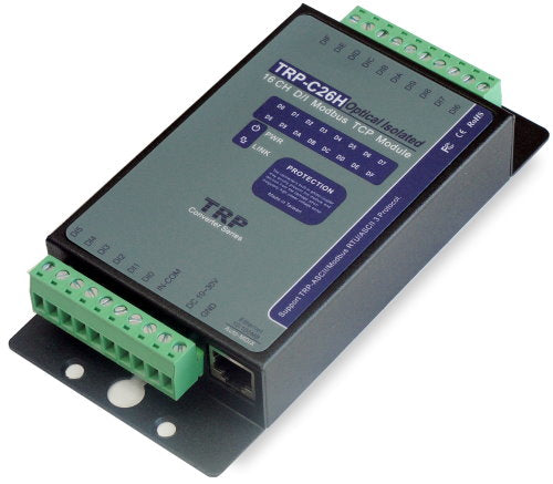 Trycom TRP-C26H, TRP-C26H. TRP-C26H allows you to connect 16-ch signals from 4V to 30V. ASCII, Modbus TCP RTU / ASCII supported. Watchdog function ensures stable running under harsh environment. Connect 1-8 sets of host IP in the network security.