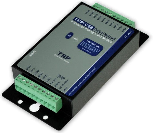"Trycom TRP-C68, TRP-C68. TRP-C68 , an 8-channel Analog to Digital Converter (ADC), takes an analog input signal and converts the input into a digital output signal. It accepts analog input-a voltage or a current-and support the sample rate in "" Normal "" or ""Fast"" mode. All channels feature screw terminals for convenient connection, and LED's t"