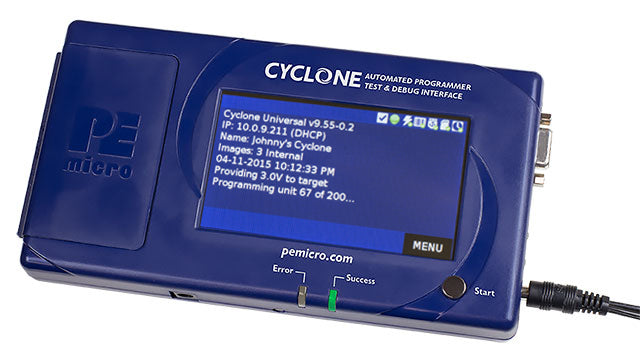 PE Micro Cyclone LC, CYCLONE-LC-UNIV. Cyclone programmers are powerful tools to in-circuit program, debug, and test MCU devices either in a stand alone mode or controlled from a PC. The programmers are reliable, easy to configure, and extremely simple to operate.