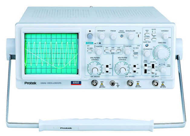 The Protek 6502 is a two channel analog oscilloscope with 4 traces., 6502