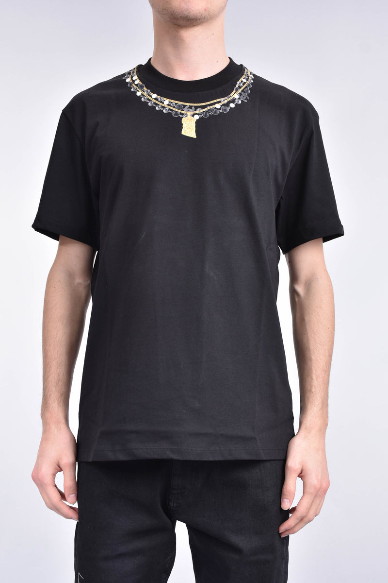 IH NOM UH NIT T-shirt whit necklaces print on front and lowercase logo on back