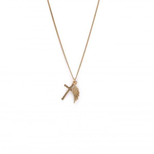 EMANUELE BICOCCHI GOLD WING CROSS NECKLACE
