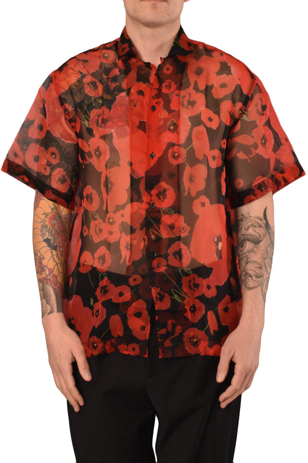 LES HOMMES CAMICIA ALLOVER POPPIES