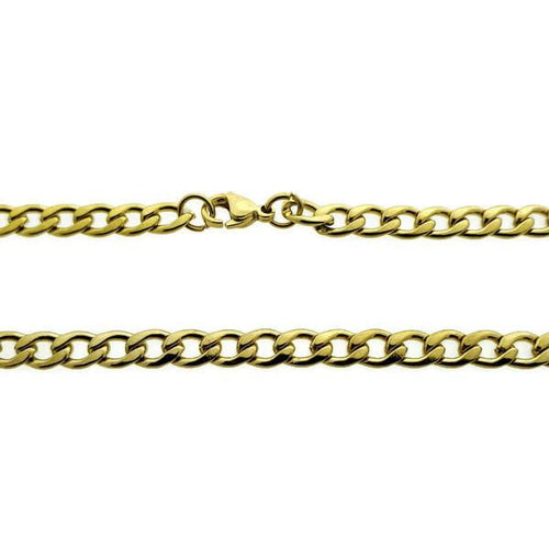 Open gourmetketting-staal-goudkleurig-5mm-60cm-stalen halsketting-Bl!nk Jewels.nl