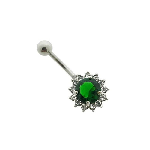 Navelpiercing-chirurgisch staal-groen-roze-transparant-1.6mm-10mm-10x13mm-navelpiercing-Bl!nk Jewels.nl