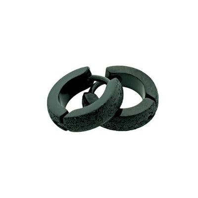 Oorringen-sandblasted-zwart-staal-11mm-3mm