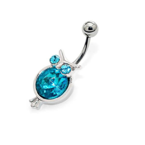 Navelpiercing uil-chirurgisch staal-blauw-kristal-1.6mm-10mm-13mm-navelpiercing-Bl!nk Jewels.nl