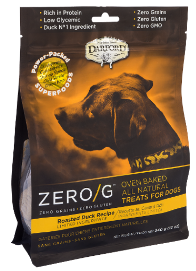 DARFORD PREMIUM DOG BISCUITS | ZERO/G GRAIN-FREE FORMULA | ROASTED DUCK RECIPE | 340 G POUCH - 064863034800