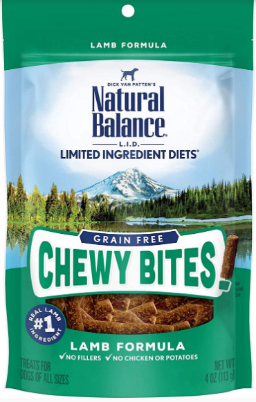 NATURAL BALANCE Limited Ingredient Diet Grain Free Chewy Bites Lamb 4oz-
