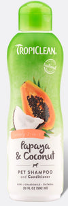 Tropiclean Papaya & Coconut Plus Luxury 2 in 1 Shampoo Conditioner 20oz - 645095202184