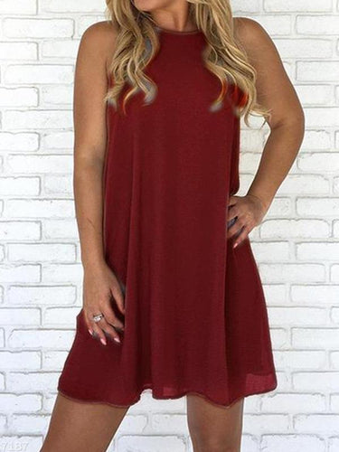 Round Neck Sleeveless Hollow Out Button Plain Casual Dress