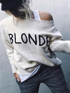Fashion Letter Embroidery Long Sleeve Knitting Sweaters