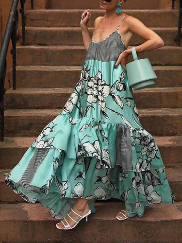 Sexy Off-Shoulder Ruffled Sleeveless Splicing Printed Colour Dress