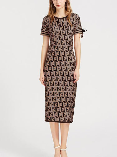 Digital Imprint Commuter Knitted Dress
