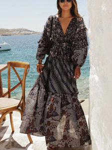 V-Neck Stitching Printed   Long-Sleeved Dress