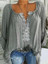 Load image into Gallery viewer, Autumn Spring Summer  Polyester  Women  V-Neck  Decorative Lace  Plain  Long Sleeve Blouses