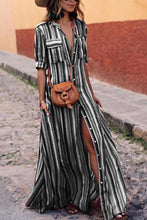 Load image into Gallery viewer, BOHO Button Down Collar  Stripes  Roll Up Sleeve Maxi Vacation Dresses