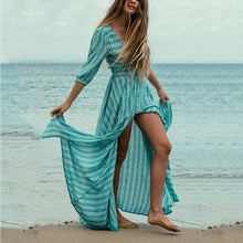 Load image into Gallery viewer, Floral Print Half Sleeves Vacation Maxi Dress