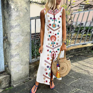 Cotton/Line Casual V-Neck Vintage Printed Boho Dress