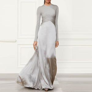Pure Color Stitching Long Sleeve Evening Dress