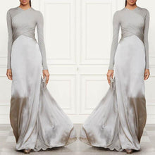 Load image into Gallery viewer, Pure Color Stitching Long Sleeve Evening Dress