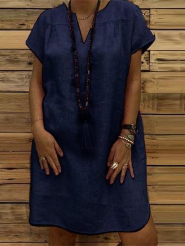Fashionable Solid Color And Loose Casual Dresses