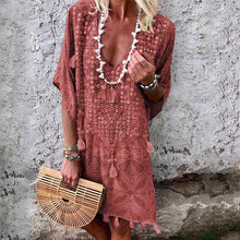 Load image into Gallery viewer, Bohemian Printed Colour V Neck Halflong Sleeve Dresses