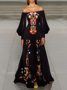 Sexy Fashion Off Shoulder Puff Long Sleeves Embroidery Evening Dress