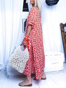 V-Neck Tassel Casual Print Maxi Dress