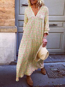 Fashion Vacation V-Neck Flower Print Loose Maxi Dress