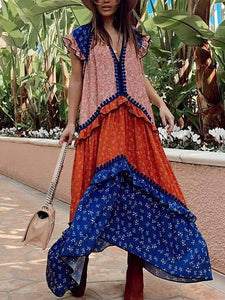 Loose Stitching Print V-Neck Vacation Casual Maxi Dress