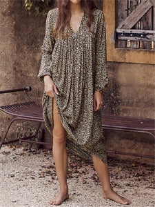 Fashion Leopard Printed Long Sleeve Sexy Beach Dresses
