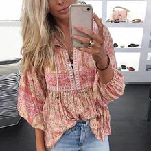 Load image into Gallery viewer, Bohemian Printed Pleated Top Blouse