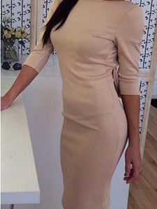 One-Neck Bow Long-Sleeved Bodycon Dress