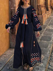 Bohemian Round Neck Tassel Printed Colour Belted Long Sleeve Maxi Dress
