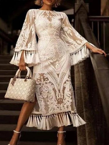 Lace Inwrought Tassel Bell Sleeve Dress